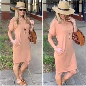 ✨RESTOCKED✨Camel Thick T-Shirt Dress with Pockets
